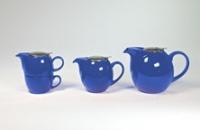 Reggeliző teaszett, fémtetős (kék)