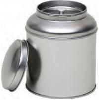 Ezüst kerek duplafedelű fém teásdoboz