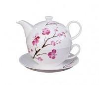 Tea for One, cseresznyevirág porcelán tea készlet