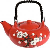 Kerámia készlet  piros kínai mintával, 0,6 l szűrővel és 4 csészévelKerámia készlet  piros kínai mintával, 0,6 l szűrővel és 4 csészével