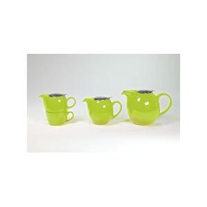 Reggeliző teaszett, fémtetős (zöld). Kanna 450 ml fém szűrővel, csésze 250 ml, a kép bal oldalán látható.