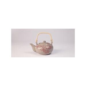 Kerámia teakanna, virágos bambuszfüllel