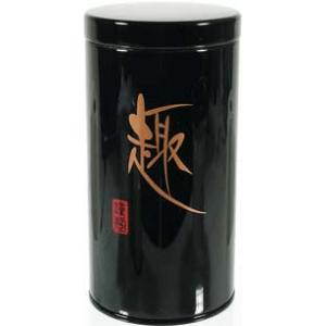 Kerek, 80 gr. fekete színű teásdoboz.