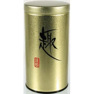 Kerek, 80 gr.arany színű teásdoboz.
