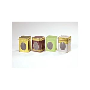 Ablakos 100 gr arany teásdoboz 7,5 x 7,5 x 9,1 cm