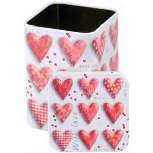 Piros szív, fém teás doboz 100 gr.
