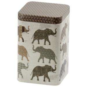 Ajok 100 gr,  tea tároló fémdoboz elefántos mintával