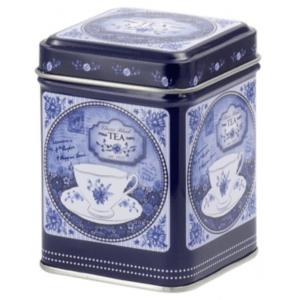 Classic, fehér-kék, csészés 50 gr fém teadoboz