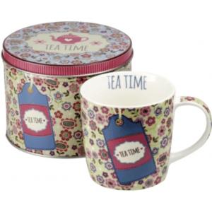 Tea Time teás bögre fém díszdobozban