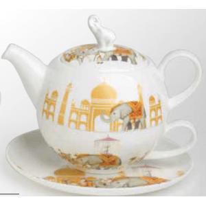 Porcelán reggeliző szett, elefántos